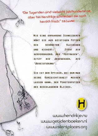 Achterflap van het boekje de Hoedster in het Duits